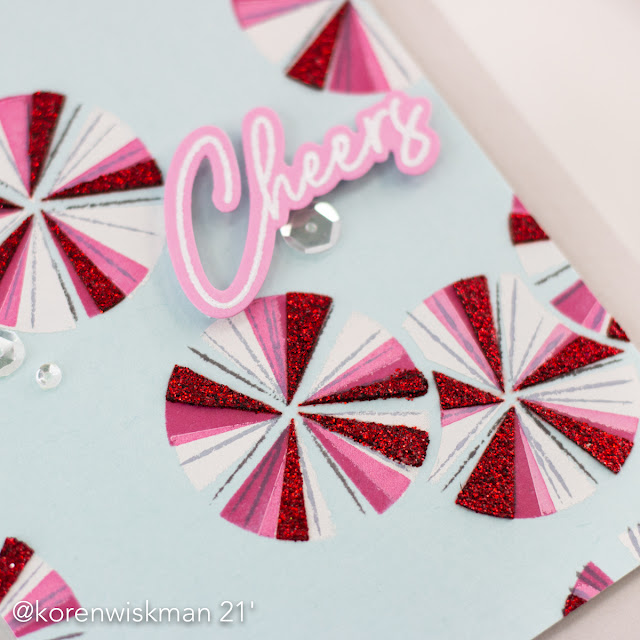 Pinkfresh Studio, Koren Wiskman, seamless starburst circle stencils, happy birthday sentiments, gina k designs, glitz glitter gel, red, mint, candy, clear sequins, cheers, greeting card, card maker, handmade card, pink, blue, white, gray