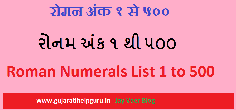 roman-numerals-list-1-to-500