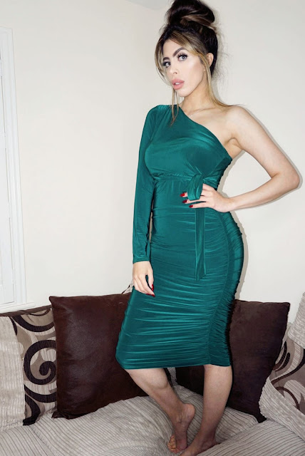 Femme Luxe Emerald One Shoulder Ruched Slinky Midi Dress in model Savannah