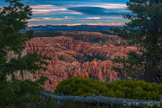 Cramer Imaging's fine art landscape photo for sale of Bryce Point at Bryce Canyon National Park, Utah at sunset