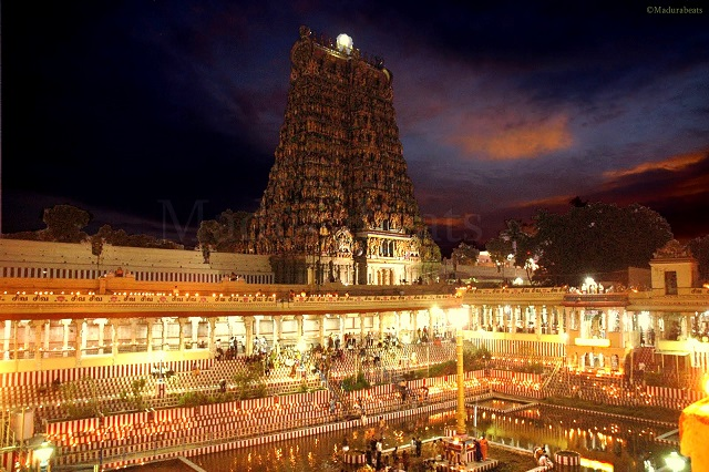 The Meenakshi temple - one of the largest temple complexes in Tamil Nadu.