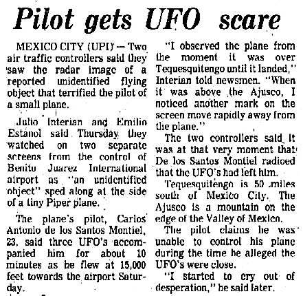 Air Traffic Controllers Track UFO, Pilot Gets a Scare - Syracuse (NY) Herald-Journal 5-9-1975