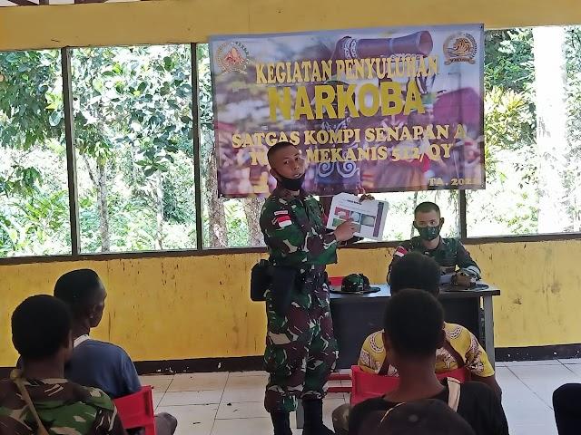 Cegah Peredaran dan Penyalahgunaan Narkoba, Satgas Yonif 512/QY Gelar Sosialisasi dan Penyuluhan Bahaya Narkoba Di Tanah Papua