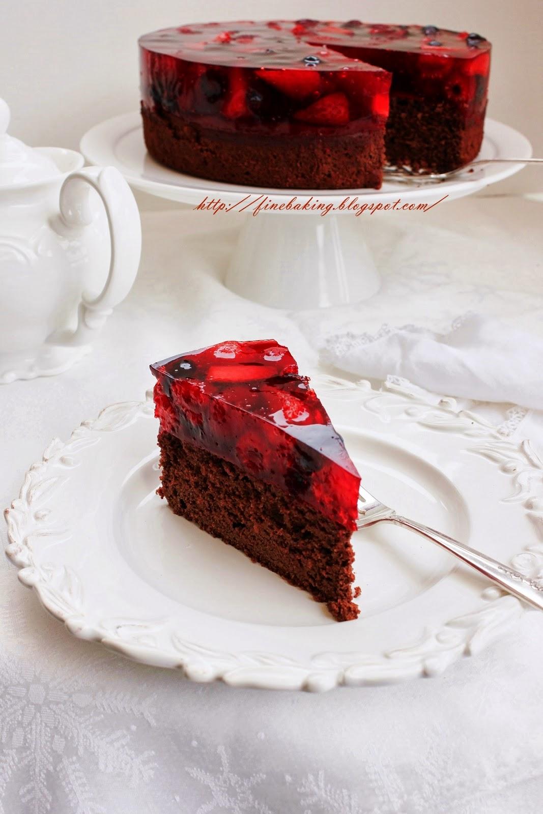 Chocolate Cake With Cherry Jello