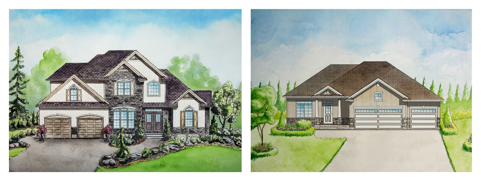 House Paintings watercolour house paintings for dhp homes brochures and trade show