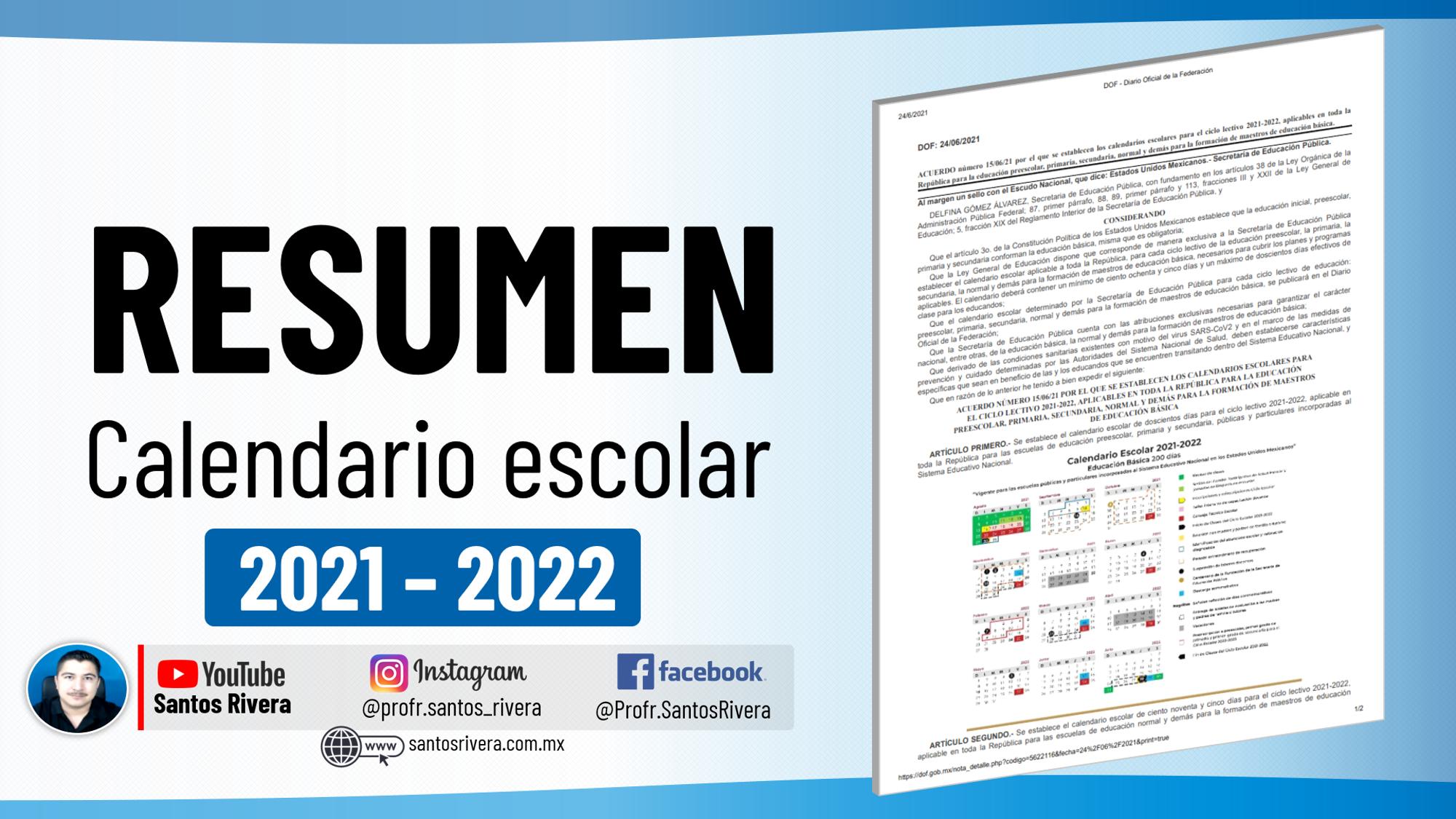 Análisis del calendario escolar 2021 - 2022