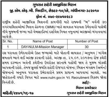National Urban Livelihood Mission Recruitment for Day NULM Mission Manager Posts 2017
