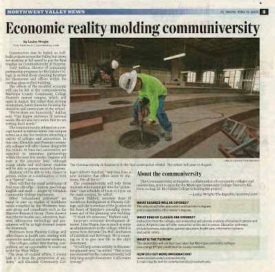 April 10, 2009 story about the Communiversity in Northwest Valley News.  Headline: Economic Reality Molding Communiversity. Image of construction workers building new location