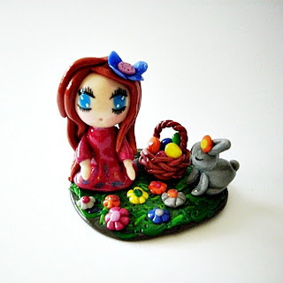 fimo, cernit, girl, polymer clay, figurine, sculpture