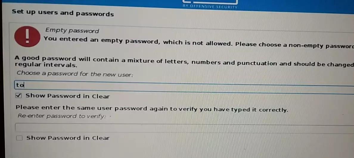proses penginstalan membuat login user kali linux