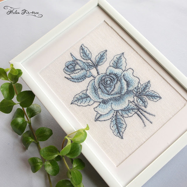 Machine embroidery of a rose on a flax машинная вышивка розы на льне