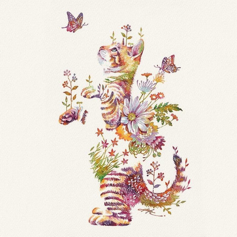 01-Cat-and-butterflies-Hiroki-Takeda-タケダヒロキ-www-designstack-co