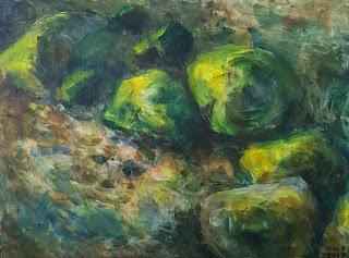 Sammaloituneita kiviä , akryylimaalaus