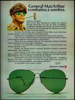 propaganda óculos Ray-Ban anos 70;  óculos anos 70; moda anos 70; propaganda anos 70; história da década de 70; reclames anos 70; brazil in the 70s; Oswaldo Hernandez