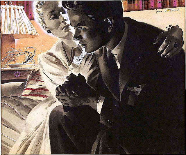 a Jon Whitcomb illustration of a mother calming her anxious son