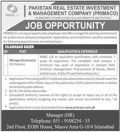 Pakistan Real Estate Investment & Management Company Jobs 2019