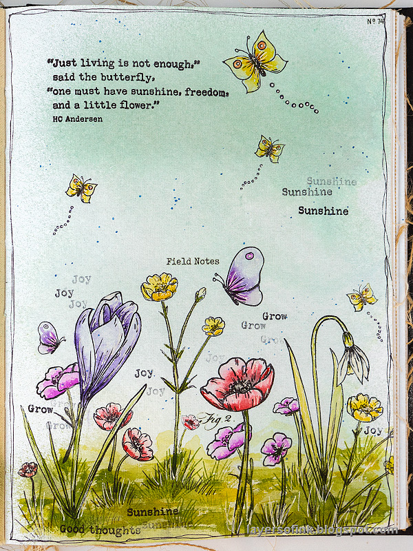 Layers of ink - Thoughtful Flowers Art Journal Page by Anna-Karin Evaldsson.