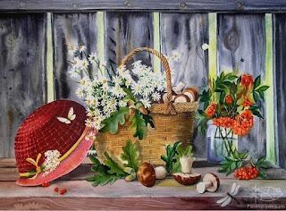 acuarelas-flores-frutas