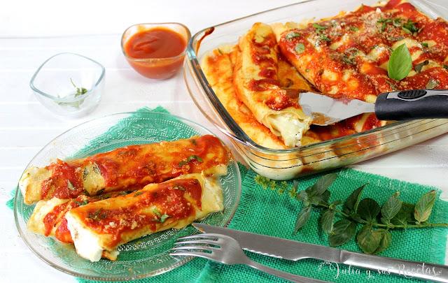 Crèpes rellenos de mozzarella. Julia y sus recetas
