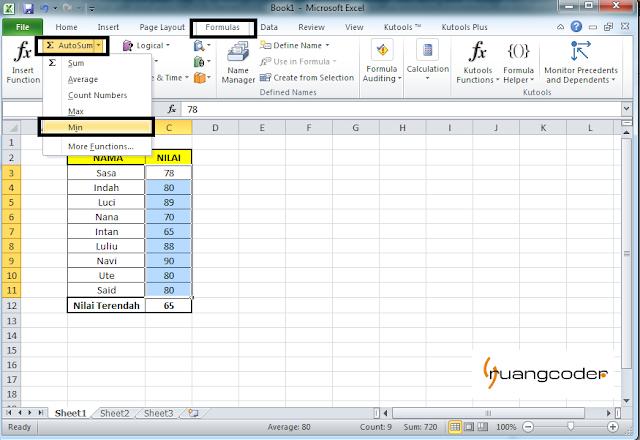Rumus AUTOMIN Microsoft Excel