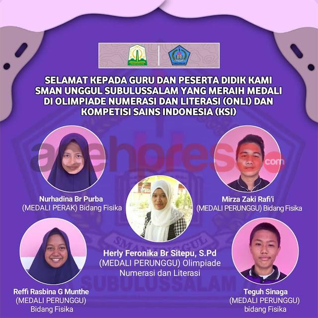 Guru dan Siswa Aceh Boyong Medali Tingkat Nasional