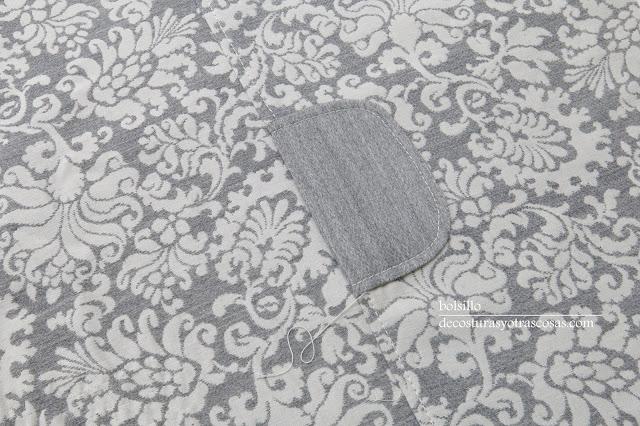 pespuntes sobre la tapeta del bolsillo y costura costado
