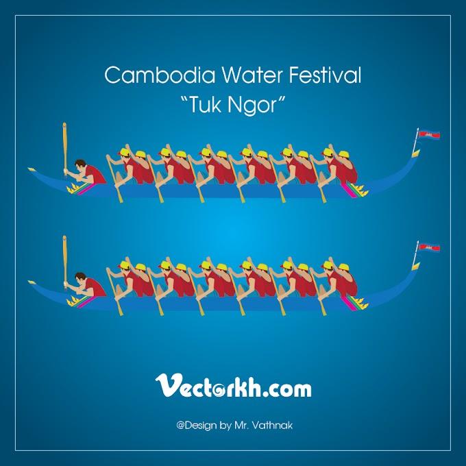 "Cambodia Water Festival  ""Tuk Ngor"" free vector"