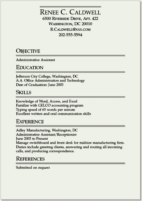 resume template for college student internships