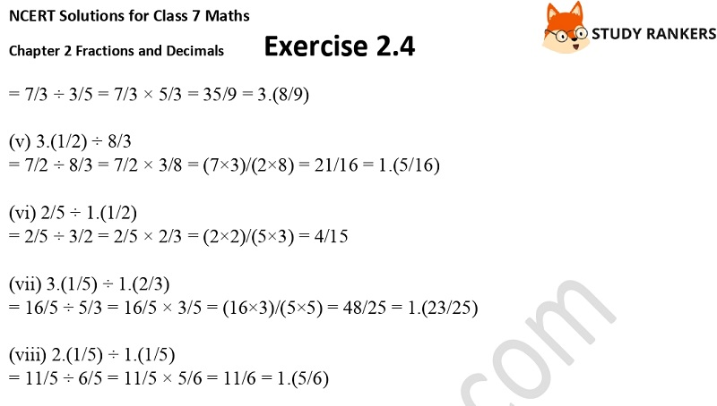 NCERT Solutions for Class 7 Maths Ch 2 Fractions and Decimals Exercise 2.4 3