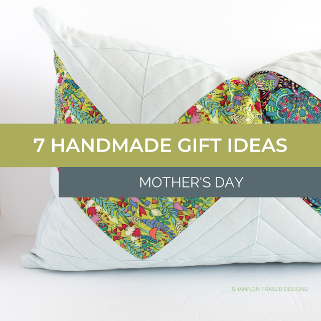 Double chevron lumbar pillow | 7 Handmade Gift Ideas for Mother's Day | Shannon Fraser Designs