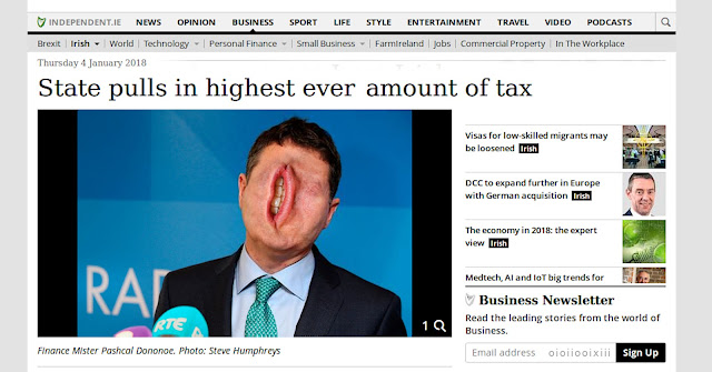 Screen capture of news article, which includes photograph of Paschal Donohoe. His mouth has been enlarged superimposed vertically over his entire face.
