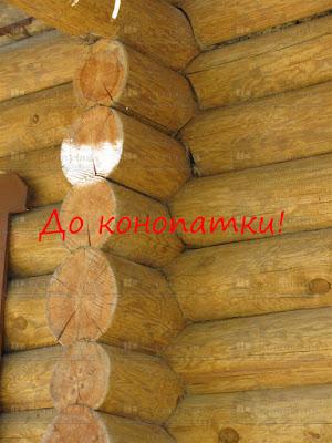 Конопатка сруба ручной рубки из сосны в Васкелово.