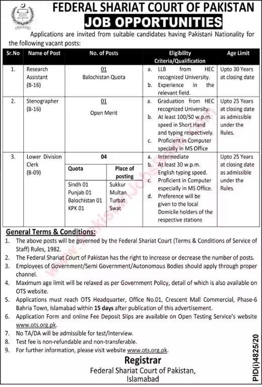 Latest Jobs in Pakistan Federal Shariat Court of Pakistan Jobs 2021