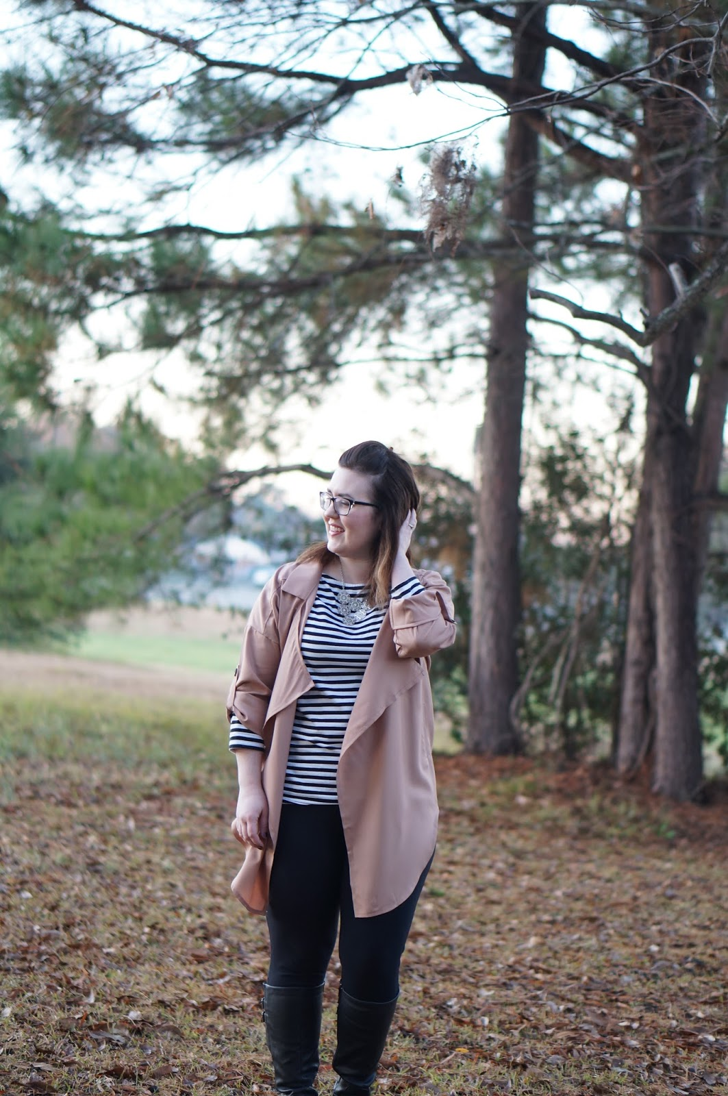 Rebecca Lately Dress Lily Trench Coat Target Striped Top J. Crew Pixie Pants Bare Traps Sebastian Boots