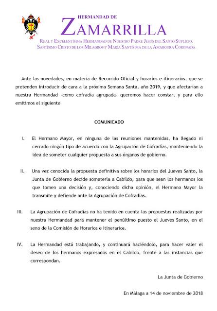 Zamarrillas presenta un comunicado en desacuerdo con el Jueves Santo propuesto