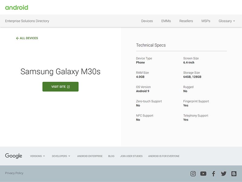Galaxy M30s listing