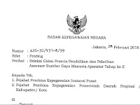 Buruan Daftar !! Seleksi Calon Peserta Diklat Asesor SDM Aparatur Tahap II 2018