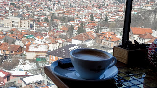 Driking coffee in Sarajevo