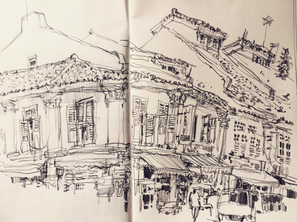Clive street little india with a cretacolor nero pencil