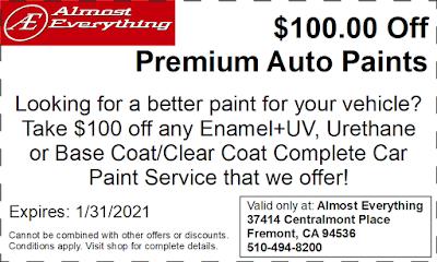 Discount Coupon $100 Off Premium Auto Paint Sale January 2021