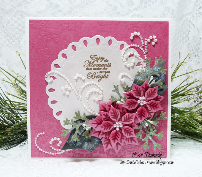 Embellished Dreams Poinsettia Christmas Card