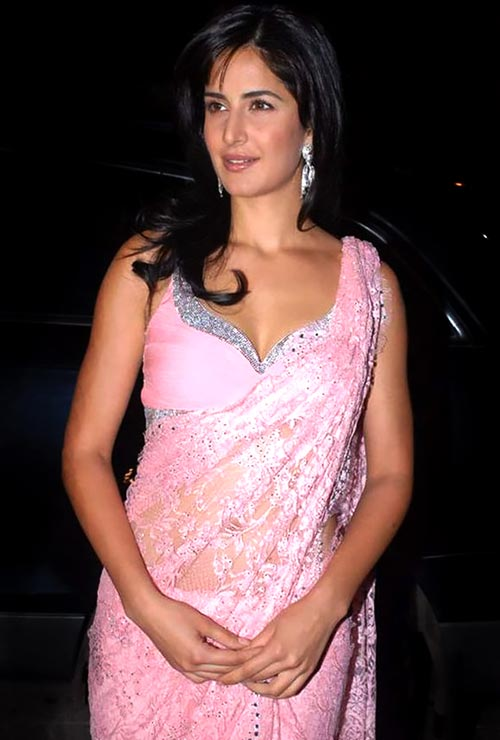 Katrina Kaif cleavage in pink saree bollywood actress