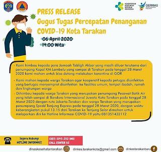 Press Release COVID-19 Tarakan 6 April 2020 - Tarakan Info