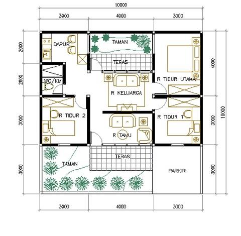 gambar denah rumah luas tanah 120 m2 2
