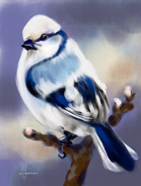 Azure Tit bird painting by Artmagenta