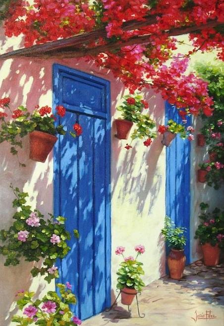 Jes s fern ndez pintor patios andaluces - Puertas de interior en sevilla ...