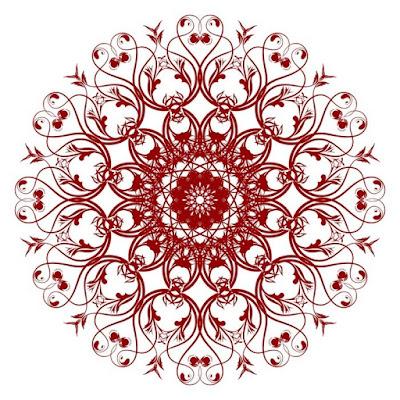 Gambar Dekoratif Pola Elemen Vintage Merah
