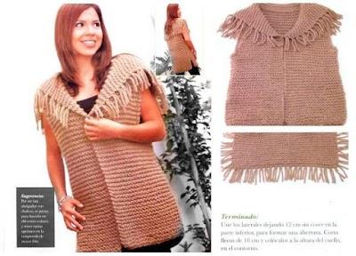 Chaleco con cuello cuadrado de flecos tricot