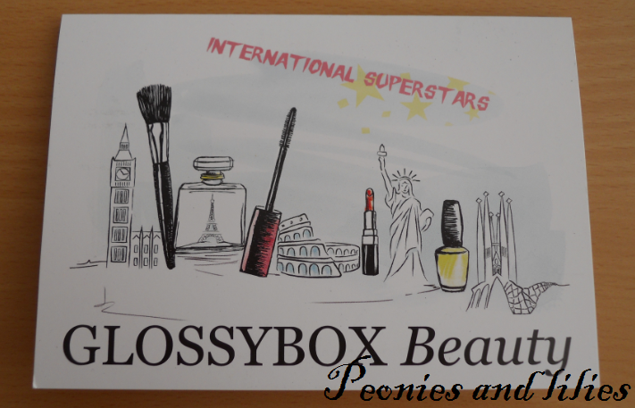 Glossybox, Glossybox August 2012, Glossybox international superstars, Glossybox illustration, Glossybox review, Peonies and lilies