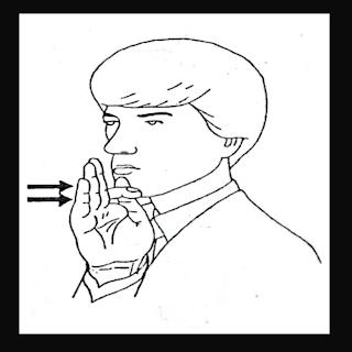 Mão em F no queixo simulando o sinal de desculpas